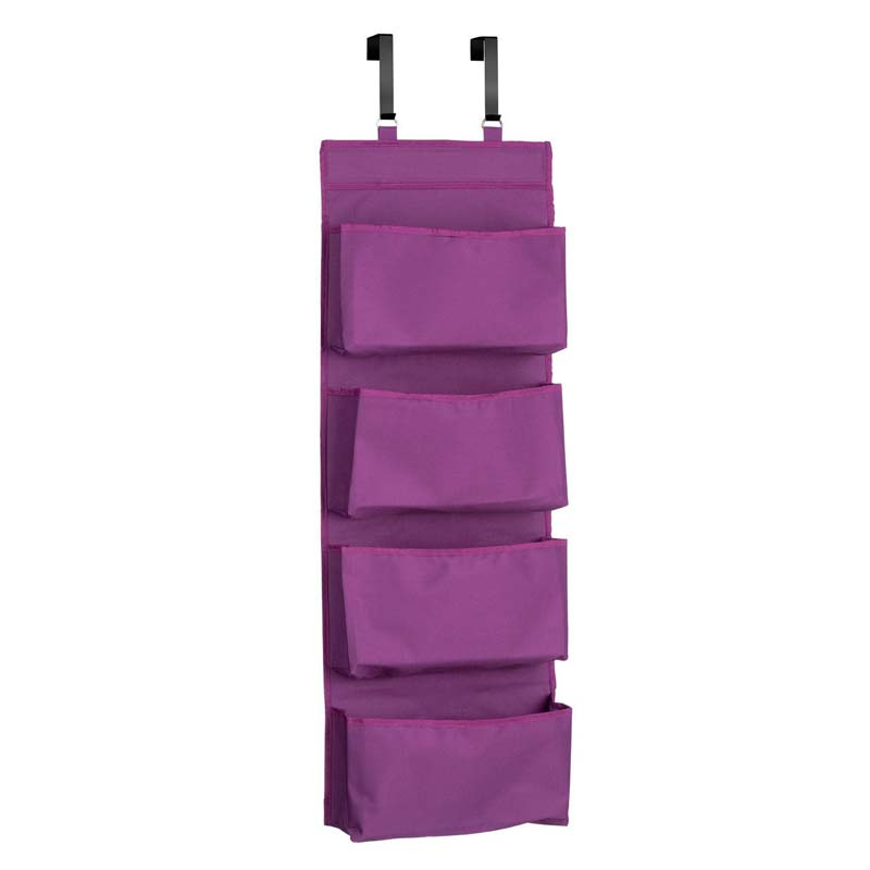 Over Door Hanging Organiser,4 Tier, Purple Polyester