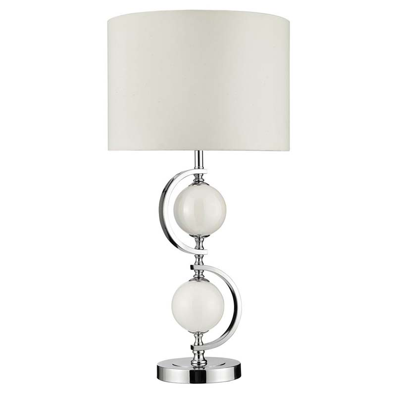 Stunning Design Chrome Table Lamp With White Glass Balls & Drum Shade