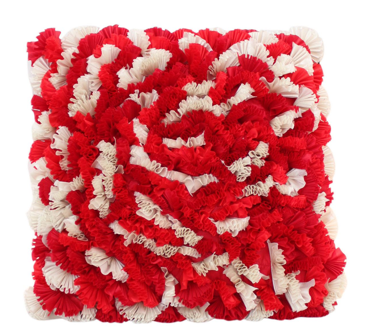 Red And White Mixed Ruffles Cushion Funky Soft Comfortable