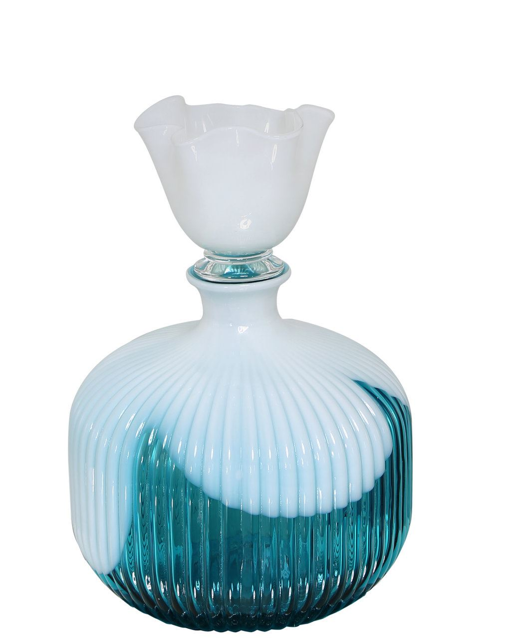 Aqua And White Decorative Glass Bottle With Lid