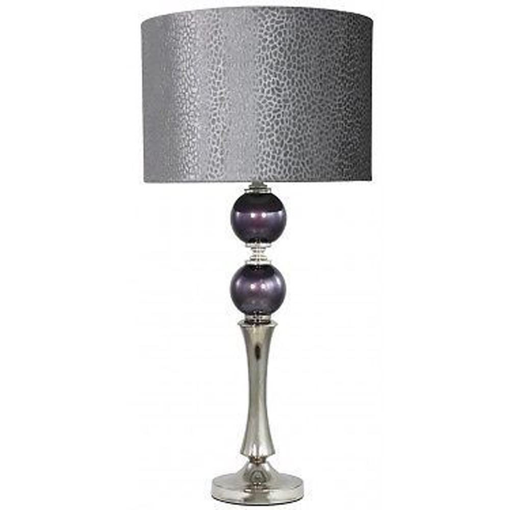 2 Purple Pearl Table Lamp With Grey Faux Snakeskin Shade/Chrome Base