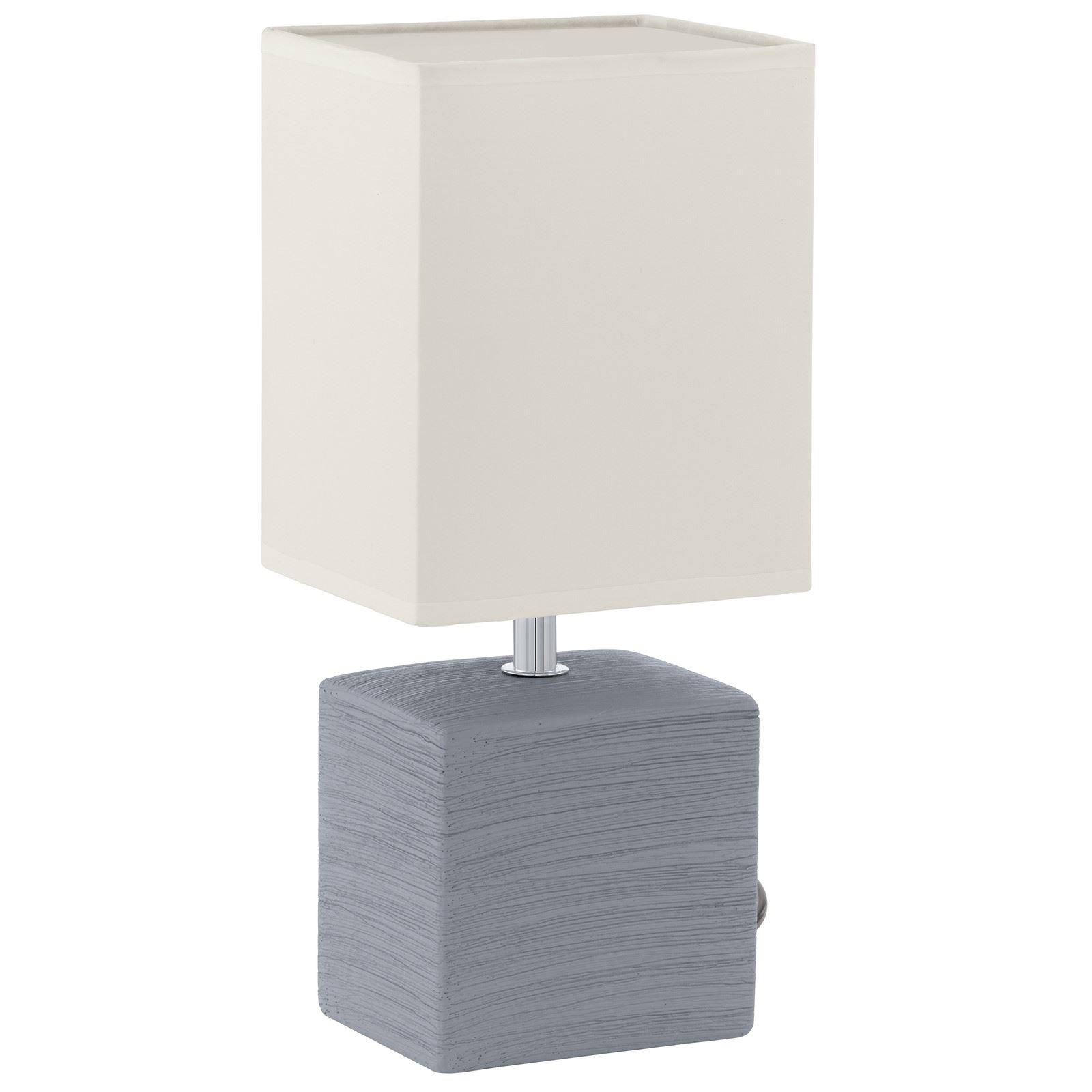 Mataro Modern Ceramic Table Lamp 1 Light E14 Grey White Fabric