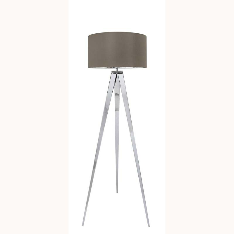 Chrome Hollywood Floor Lamp with 19 inch Taupe faux silk cylinder Shade