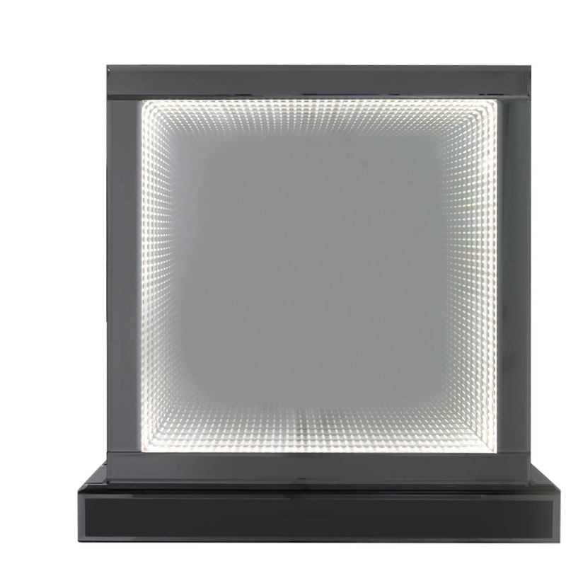 Modern Style Large Square 50cm Smoked Mirror Table Lamps with White & Grey LED Glass Infinity Lights