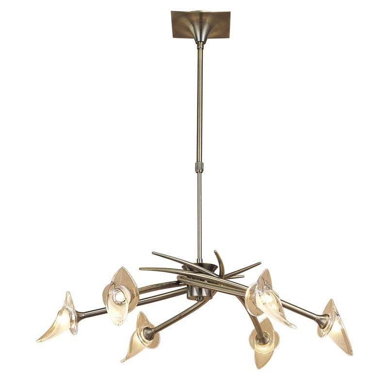 Flavia Telescopic Pendant 6 Light Round Antique Brass