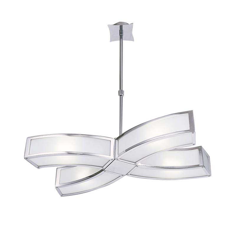Mantra M0404 Duna E27 Pendant 4 Light E27, Polished Chrome/White Acrylic