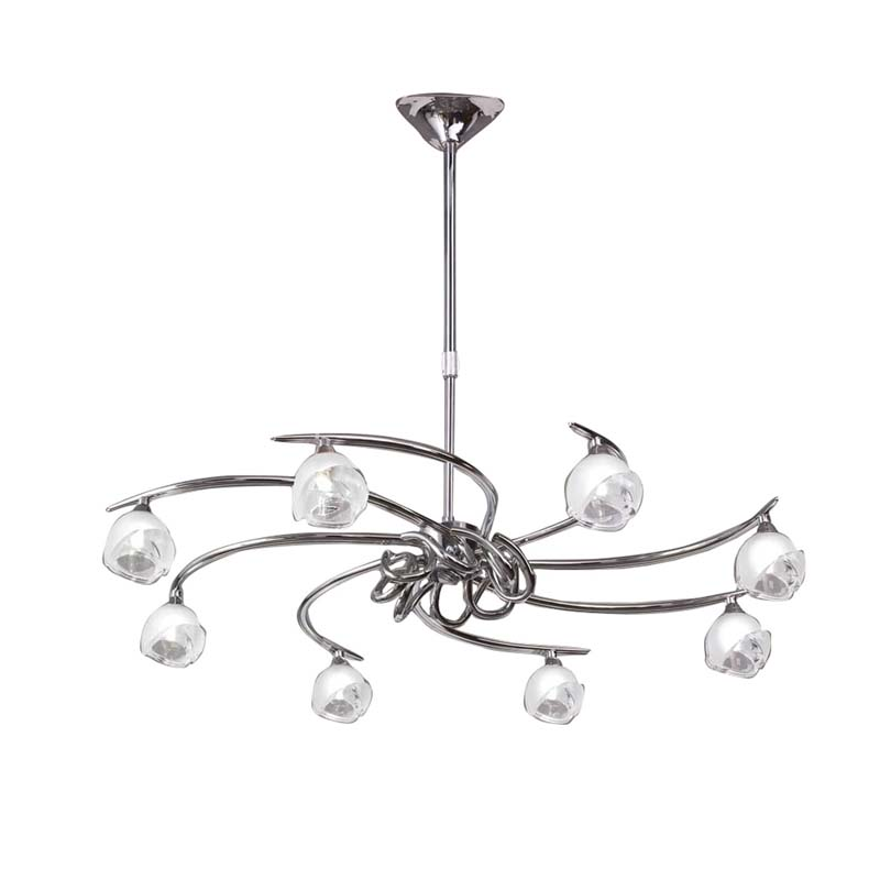 Decorative 8 LED Warm White Light With Silver Flower Shape Glass Shade Iron Pendant Ideal For Any Room