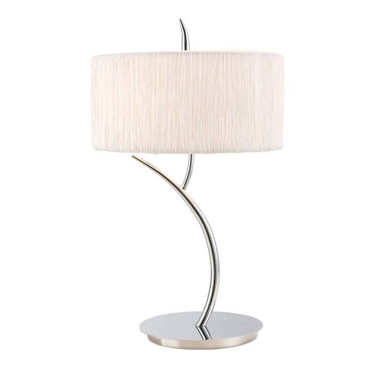Modern Style Table Lamp 2 Light Polished Chrome With White Shade