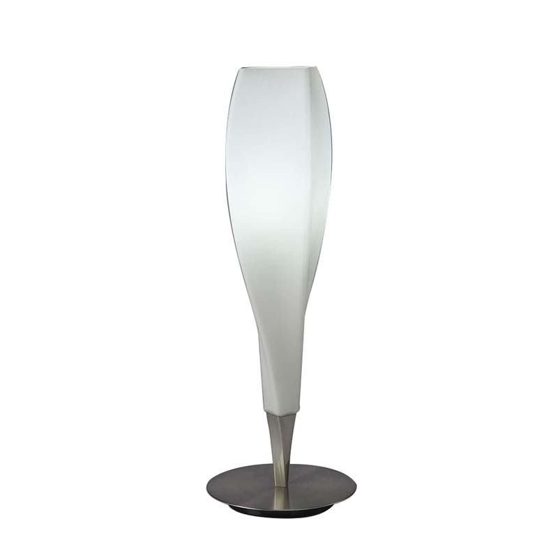 Neo Satin Nickel 1 Light Table Lamp And White Frosted Glass