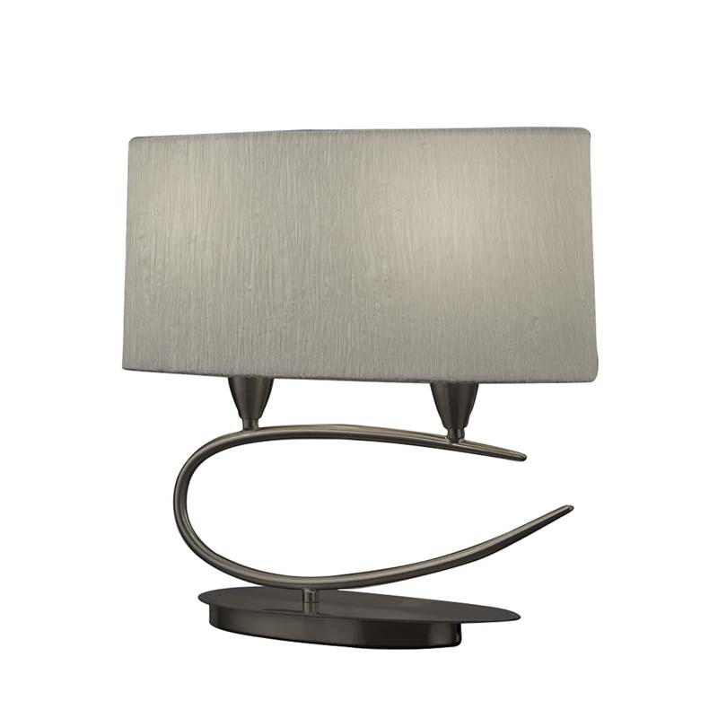 Lua Table Lamp 2 Light E27, Satin Nickel With White Shade