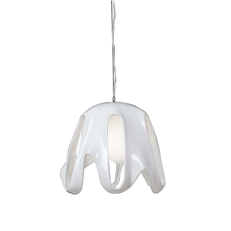 Phantom Pendant 1 Light E27, Gloss White/Frosted White Glass/Polished Chrome