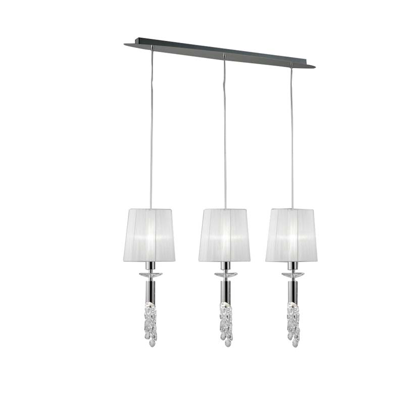 Tiffany Pendant 3+3 Light, Polished Chrome With White Shades & Clear Crystal