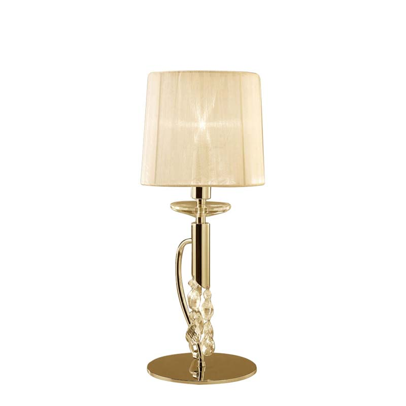French Gold 1 Light Table Lamp With Cream Shade & Clear Crystal