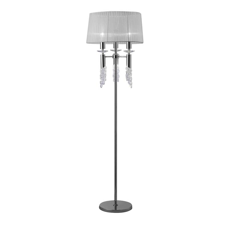 Tiffany Floor Lamp 3+3 Light, Polished Chrome With White Shade & Clear Crystal