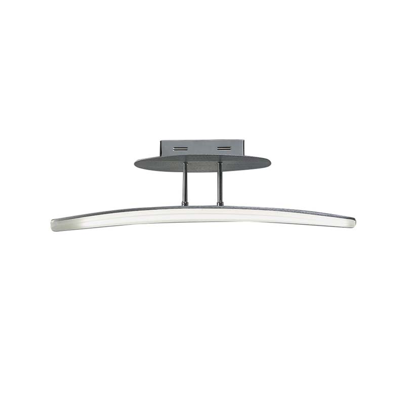 Hemisferic Semi Ceiling 20W LED 70cm Bar 3000K, Satin Aluminium/Frosted Acrylic