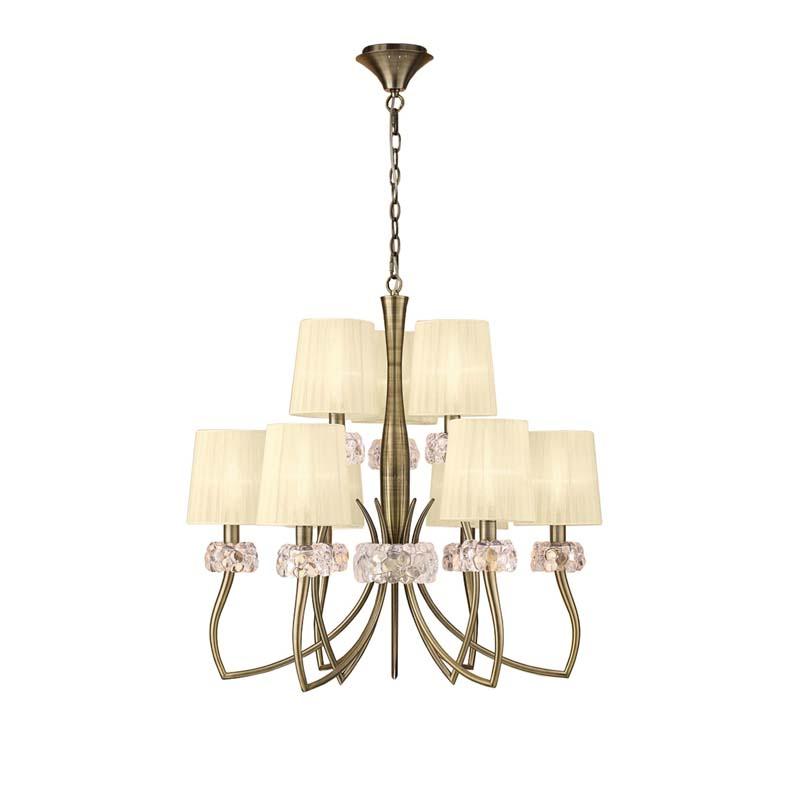 Loewe 2 Tier Pendant 6+3 Light E14, Antique Brass With Cream Shades