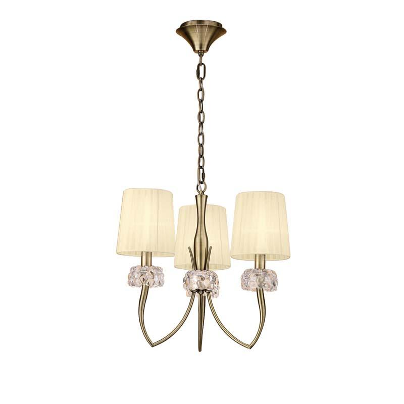 Mantra M4633AB Loewe Pendant 3 Light E14, Antique Brass With Cream Shades