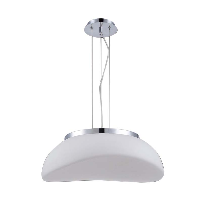 Mantra M4892 Opal Pendant 3 Light E27, Polished Chrome/Frosted White Glass