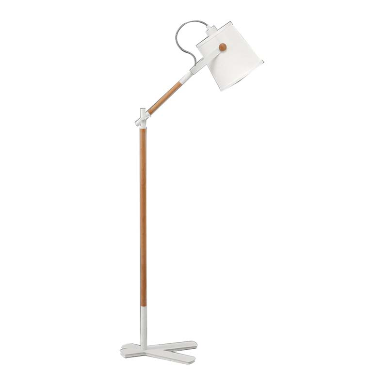 Nordica Floor Lamp With White Shade, Matt White/Beech With Ivory White Shade