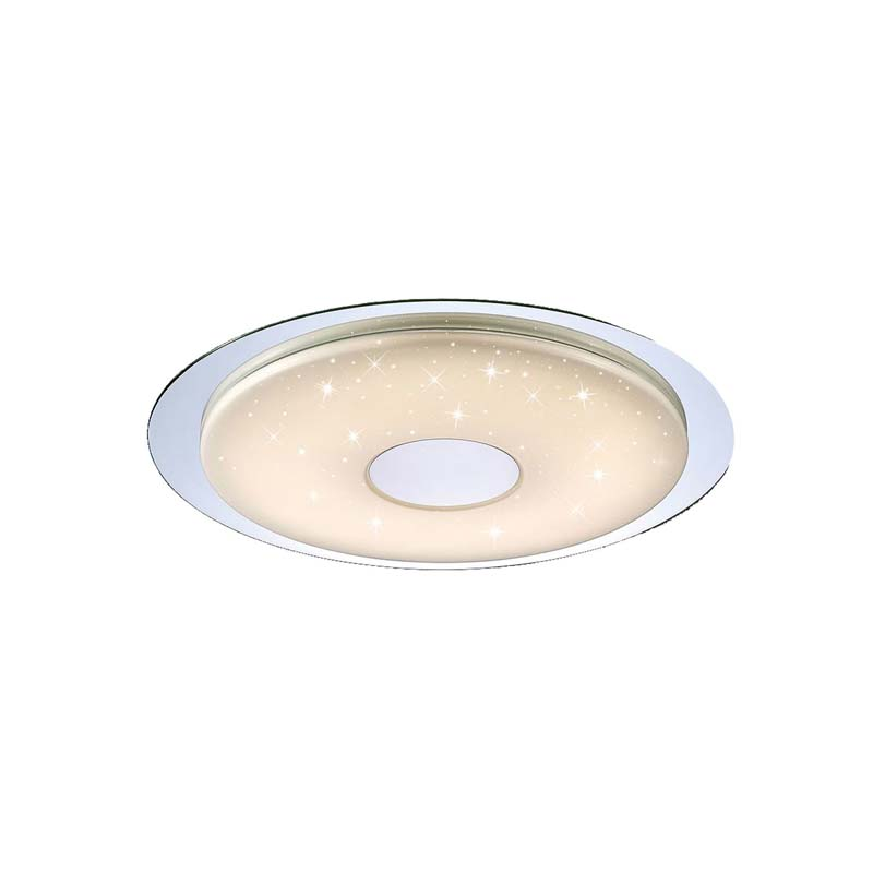 Virgin Flush 45cm Round 18W LED, Remote Silver/Frosted Acrylic/Polished Chrome