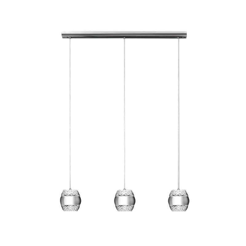 Khalifa Pendant 3 X 6W LED 3000K Line Polished Chrome/Glass, 3240lm,