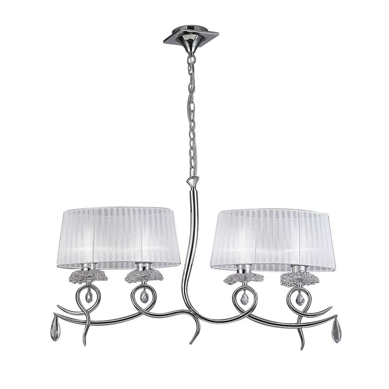 Louise Pendant 2Arm 4 Light With White Oval Shades Polished Chrome/Clear Crystal