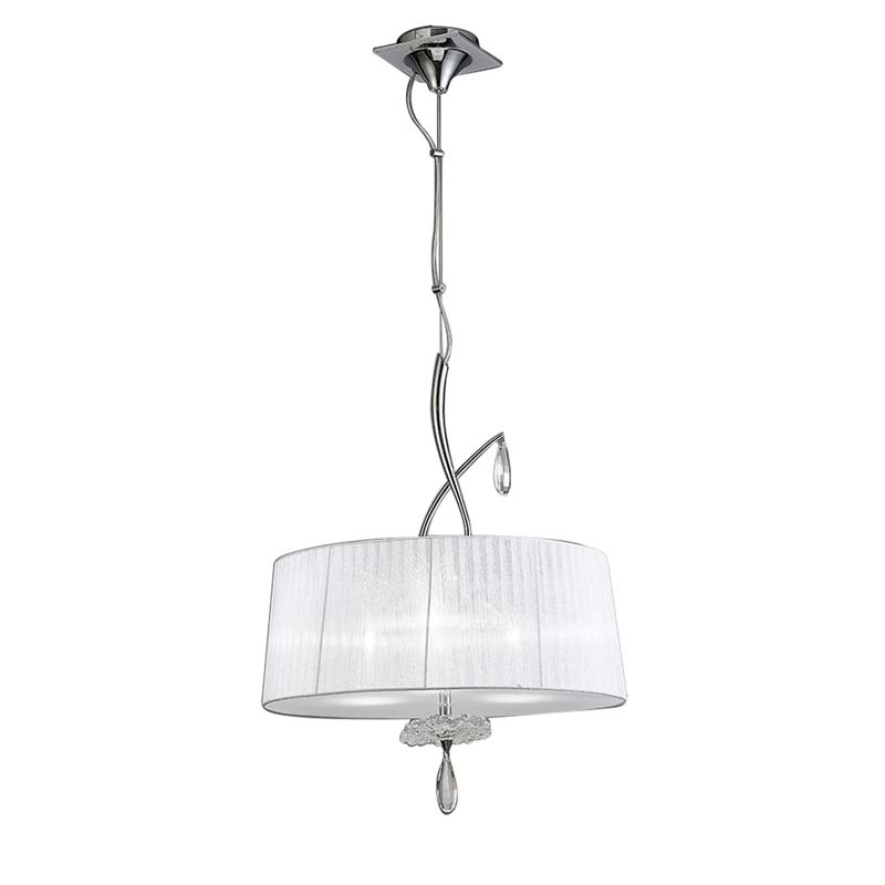Louise Pendant 3 Light E27 Round With White Shades Polished Chrome/Clear Crystal