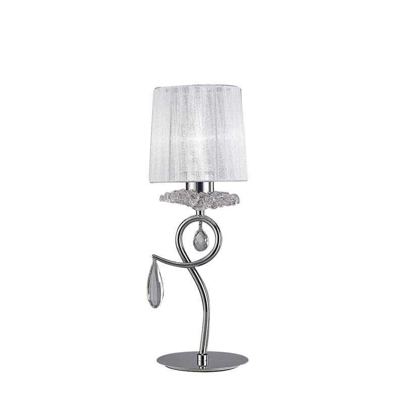 Louise Table Lamp 1 Light E27 With White Shade Polished Chrome/Clear Crystal