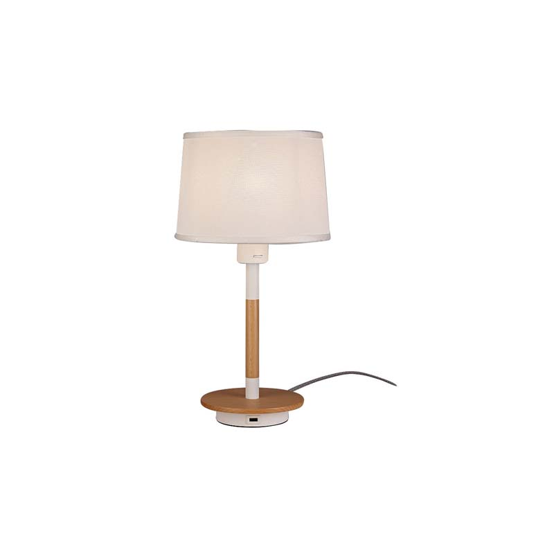Nordica Table Lamp With White Shade And USB Socket