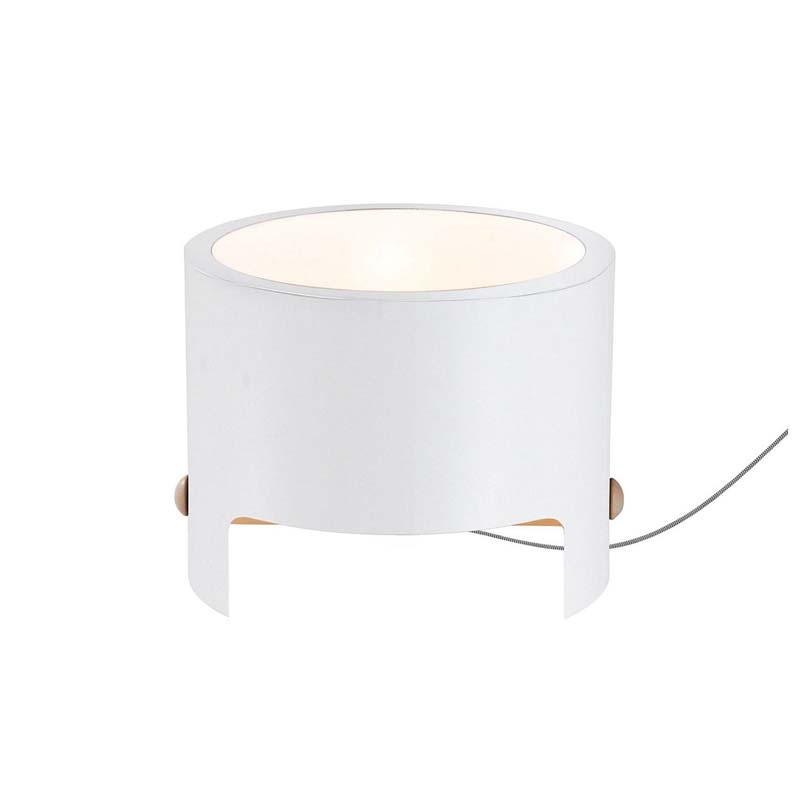 White 1 Light Table Lamp Wide Made Of Metal & Wood