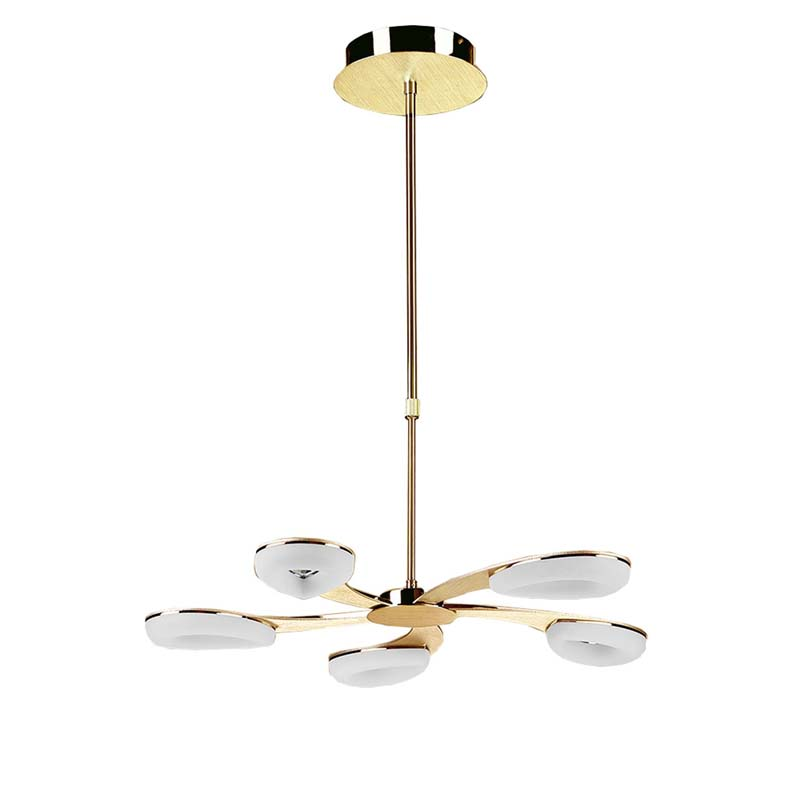 Juno Telescopic 5 Light 30W LED 3000K, 2700lm, Satin Gold/Frosted Acrylic/Gold