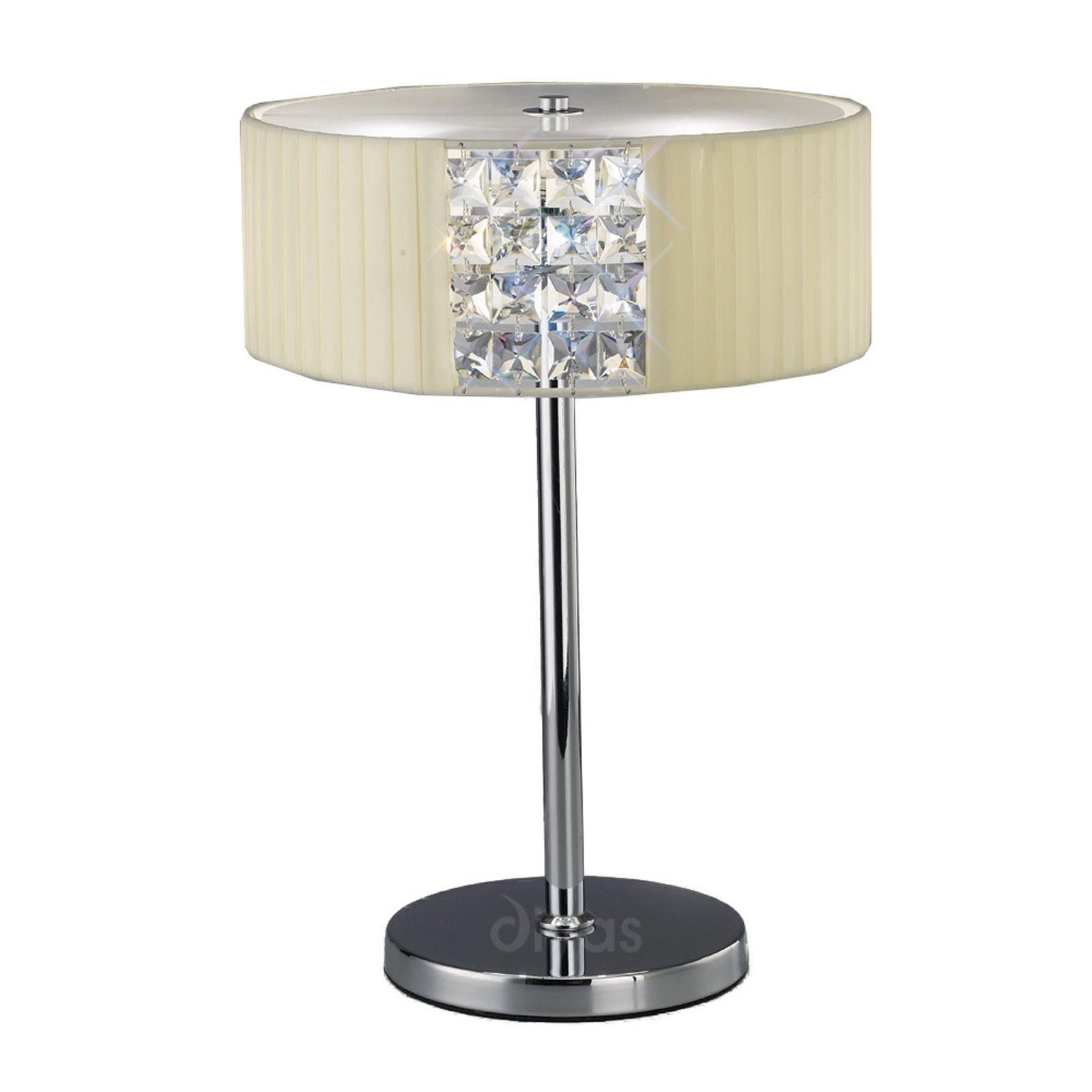Cream Shade 2 Light Crystal Round Table Lamp - Polished Chrome