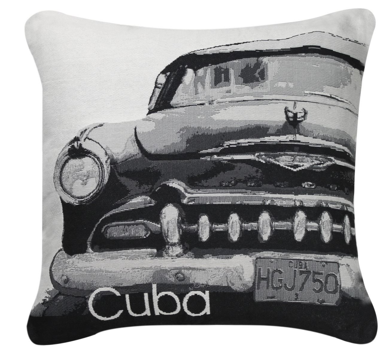 Black And White Cuba Car Cushion Embroidered Close Up