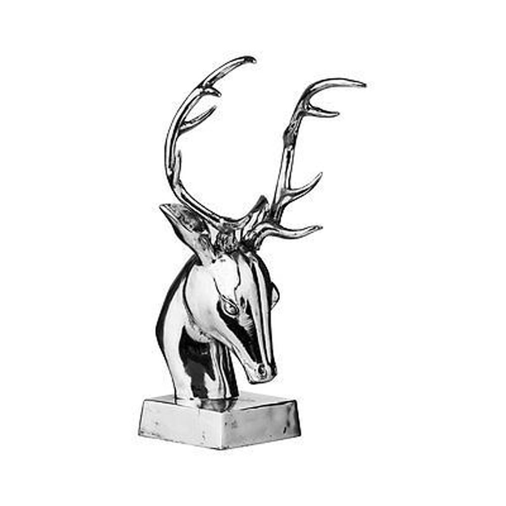Stag Head Sculpture,Silver,Polyresin
