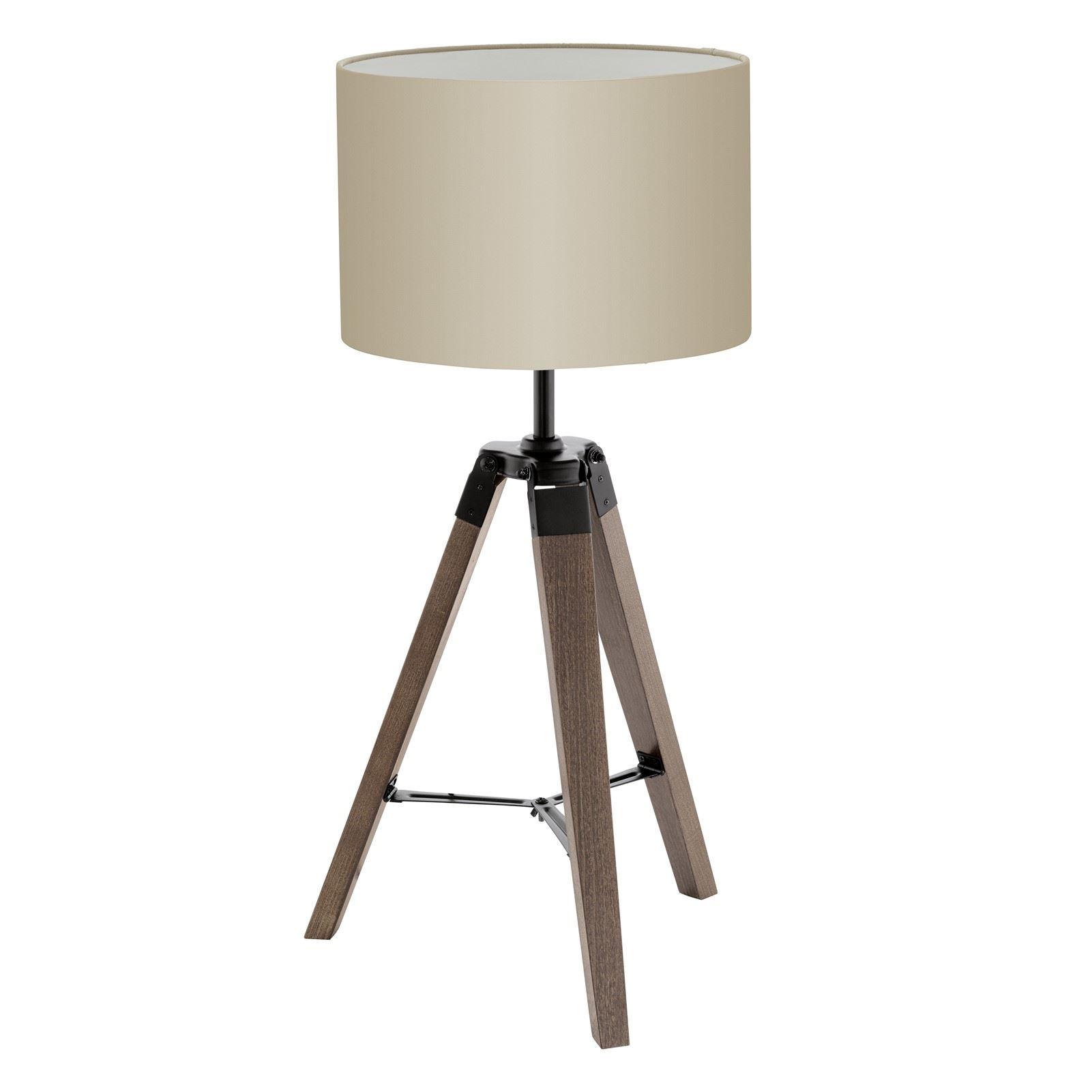 Lantada Wood Steel Table Lamp 1 Light Taupe Fabric Shade