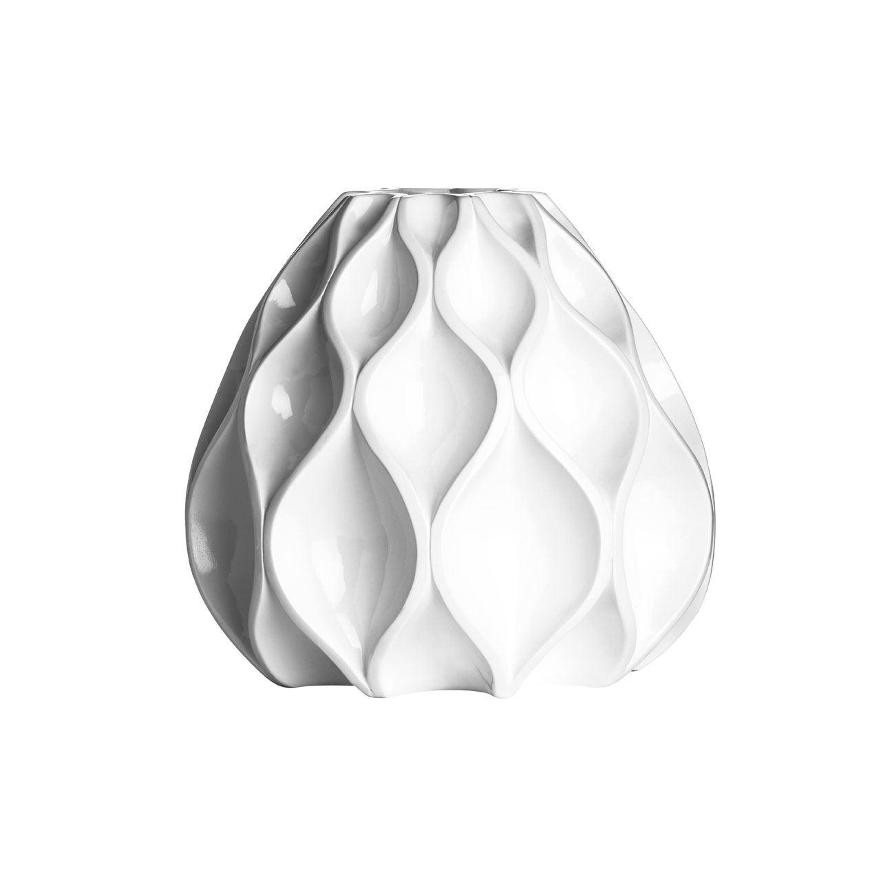 Decor Vase,Polyresin,White High Gloss Finish