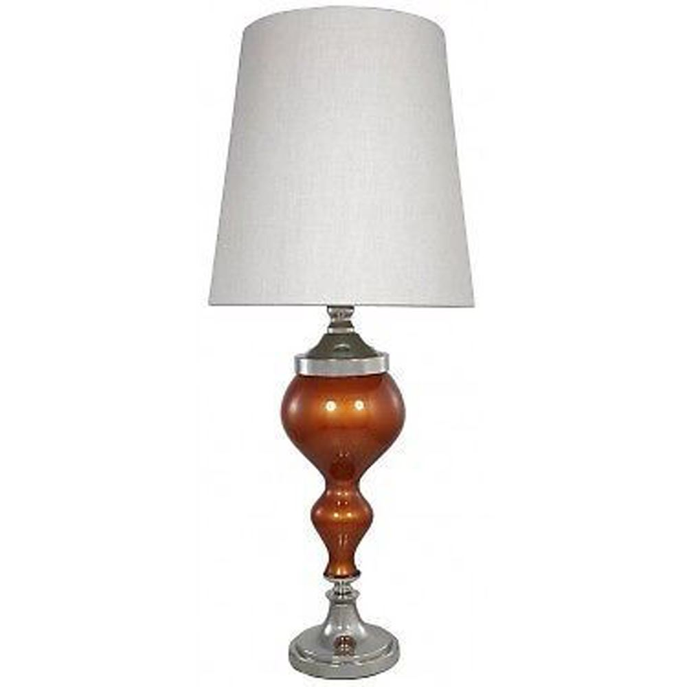Terracotta Red Pearl Glass Chrome Curve Modern Table Lamps with Linen Shade