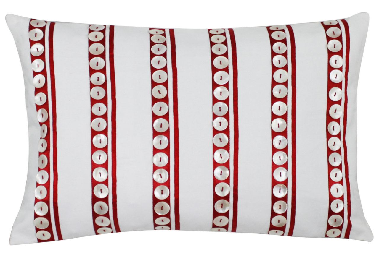 Rectangular White Cushion With Red Stripes And White Buttons