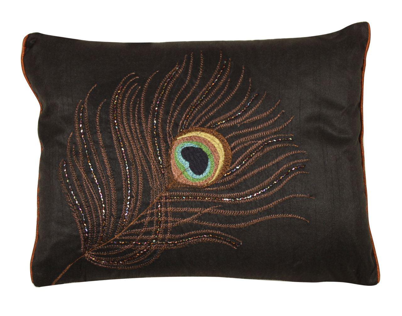 Black Sequin Small Cushion Peacock Feather Design Rectangular