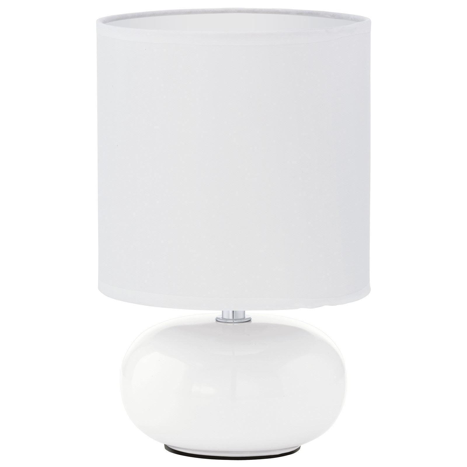 Trondio Ceramic White Table Lamp 1 Light E14 With Fabric Shade