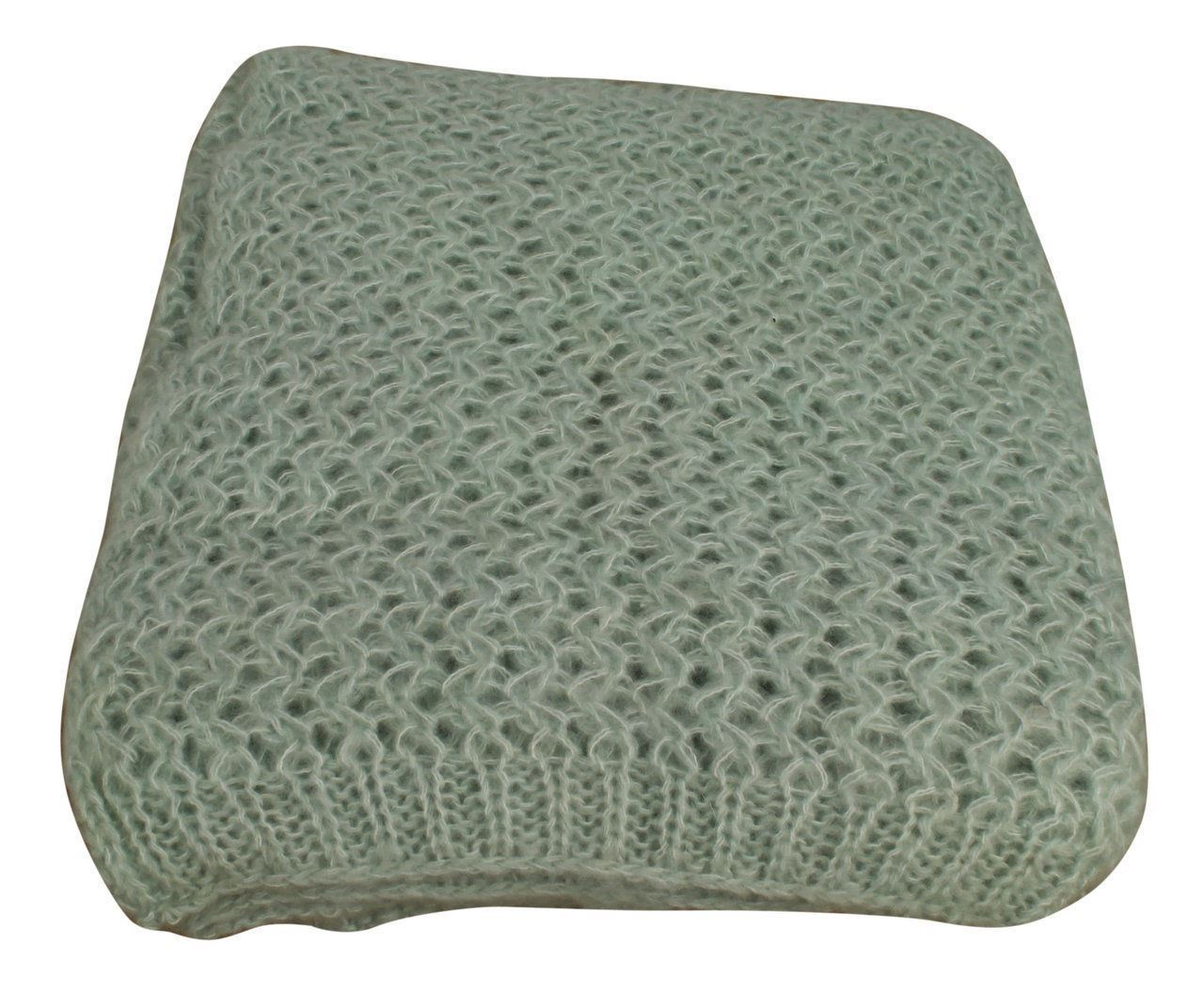 Elegant Design Duck Egg Woolen Ribbed Throw 125x150cm Perfect For Sofa Decor