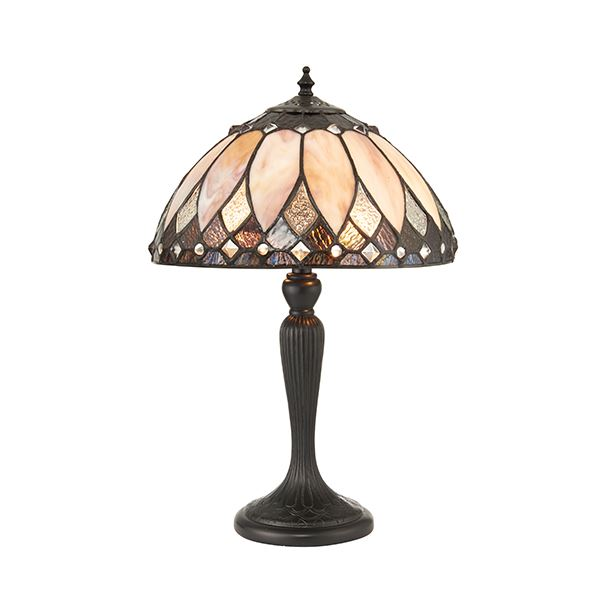 Brooklyn Tiffany Style Black Polyresin Small Table Lamp With Glass Shade