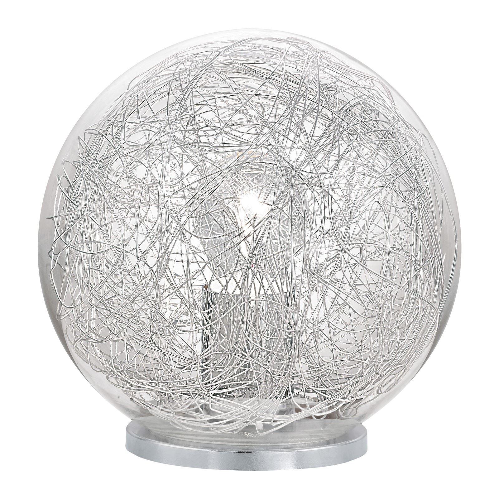 Luberio Table Lamp 1 Light E27 Clear Glass Shade Aluminium