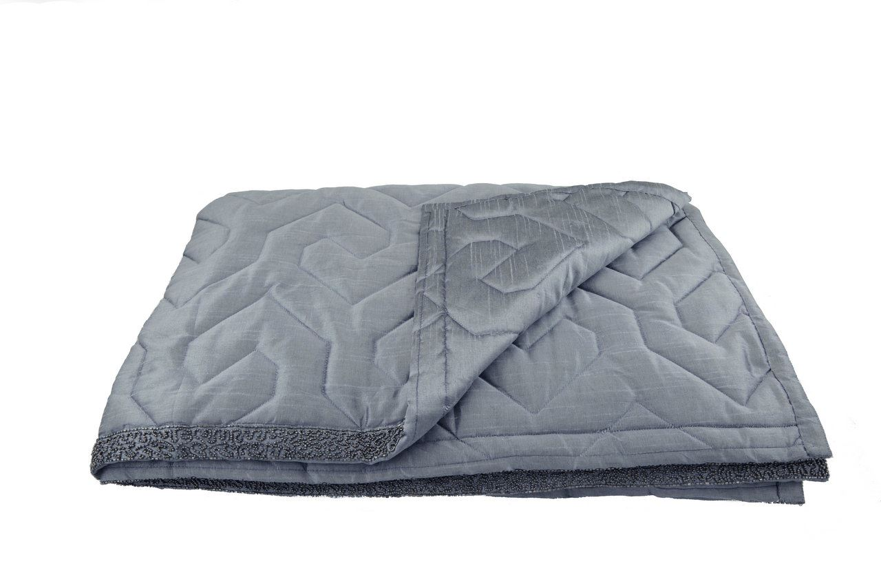 Grey Quilted Bed Runner With Beaded Detail