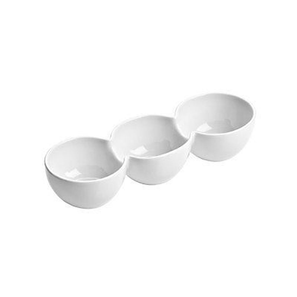 Snack Dish,3 Section,White Porcelain