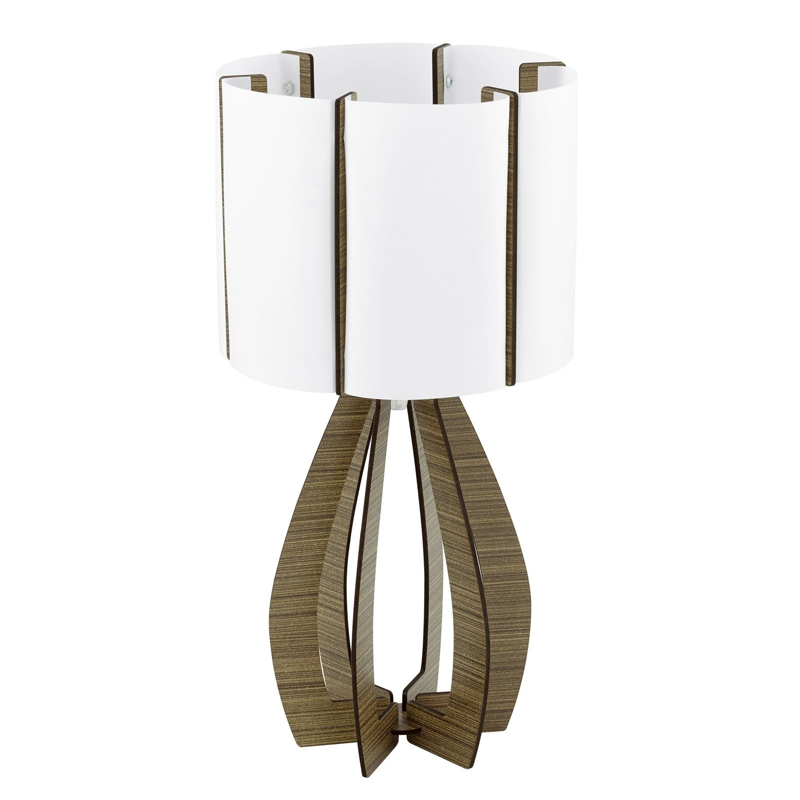 Cossano Table Lamp 1 Light E27 Wood Brown White Ø 225 Mm
