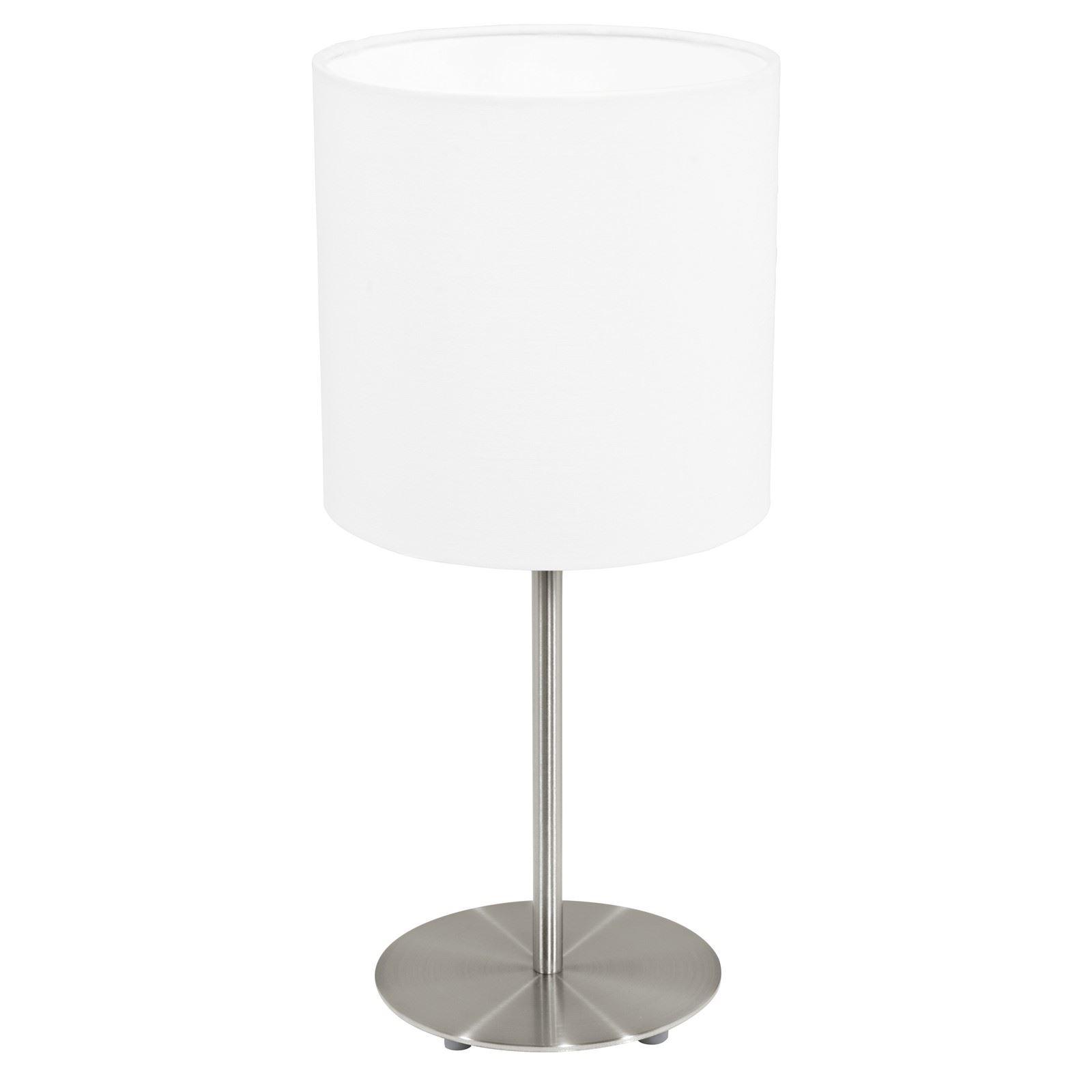 Pasteri Matt White Shade Steel Satin Nickel Table Lamp 1 Light E27