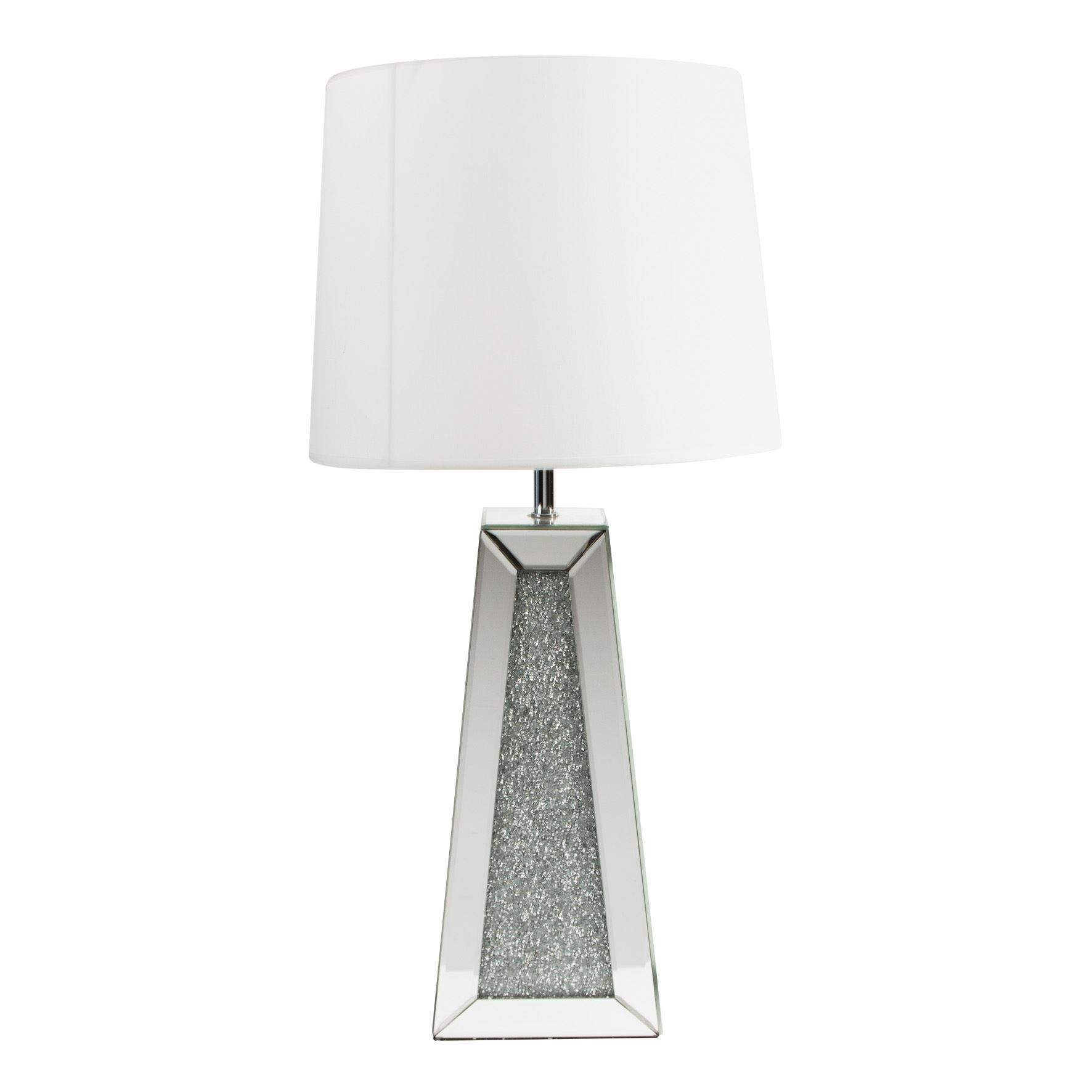 Hestia Mirror Glass Tapered Table Lamp w/ Crystals