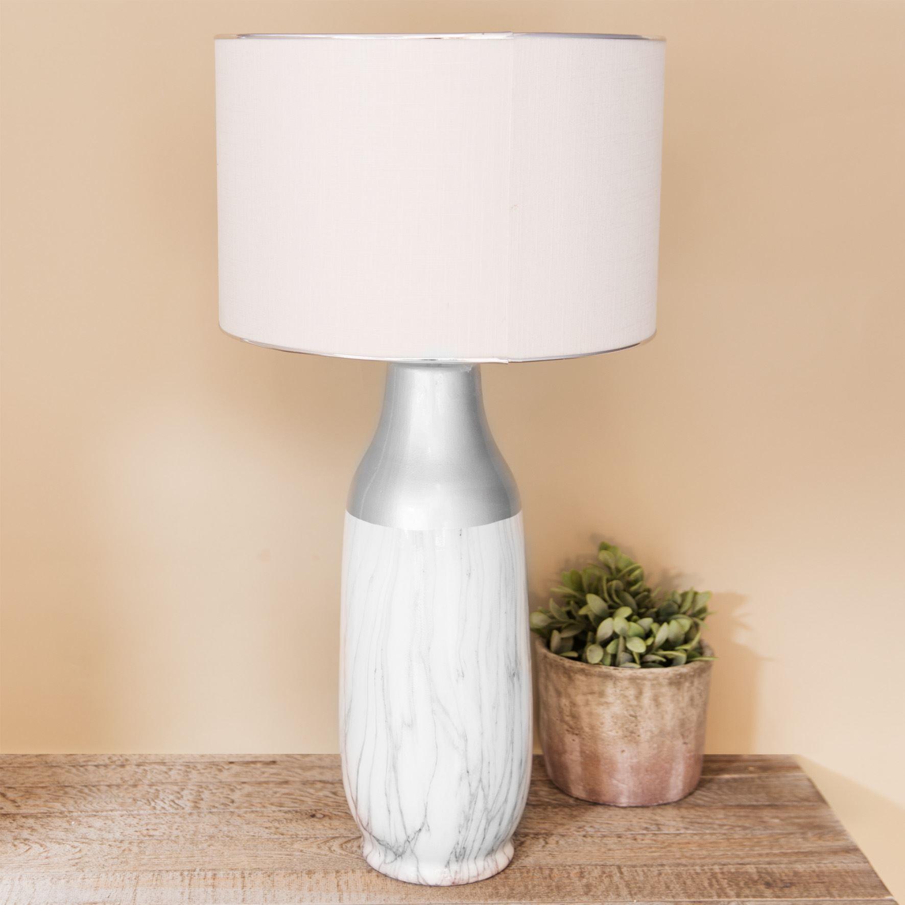 Hestia Ceramic Table Lamp Marble Effect Base