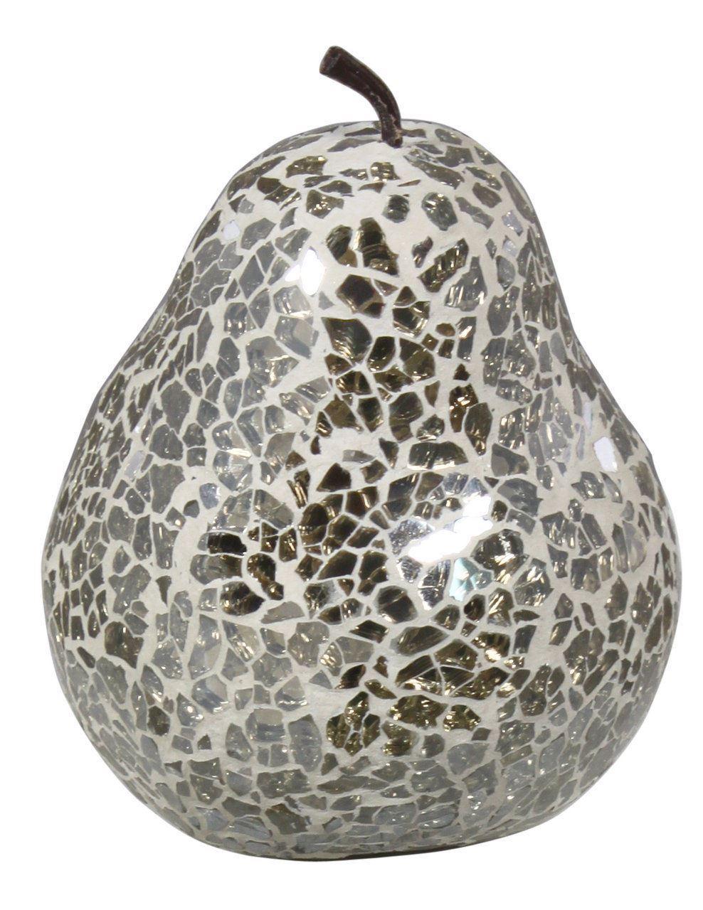 Mercury Sparkle Mosaic Pear Decoration With Stem